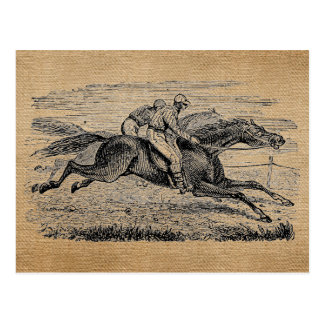 Carrera de caballos del vintage de la arpillera tarjetas postales