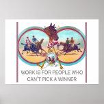 Carrera de caballos divertida - trabaje para la ge posters