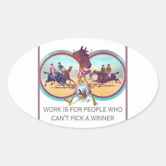 Carrera de caballos divertida - trabaje para la ge calcomanías ovales personalizadas
