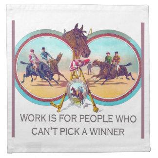 Carrera de caballos divertida - trabaje para la ge servilletas imprimidas