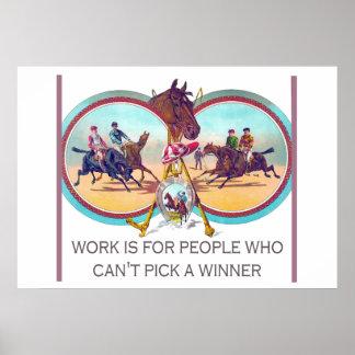 Carrera de caballos divertida - trabaje para la póster