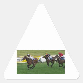 Carrera de caballos en imágenes del césped del ji calcomanía triangulo