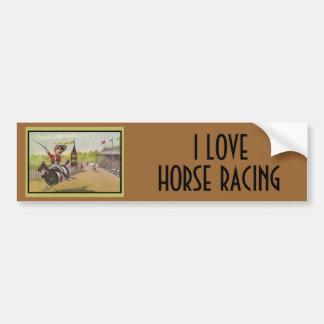 Carrera de caballos en los carretes del hilo pegatina de parachoque