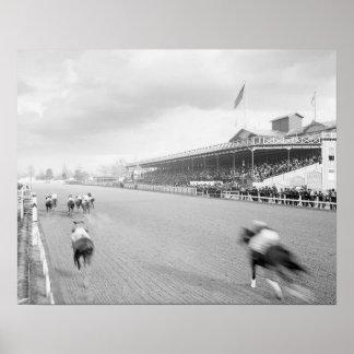 Carrera de caballos en New Orleans, 1906. Foto del Póster