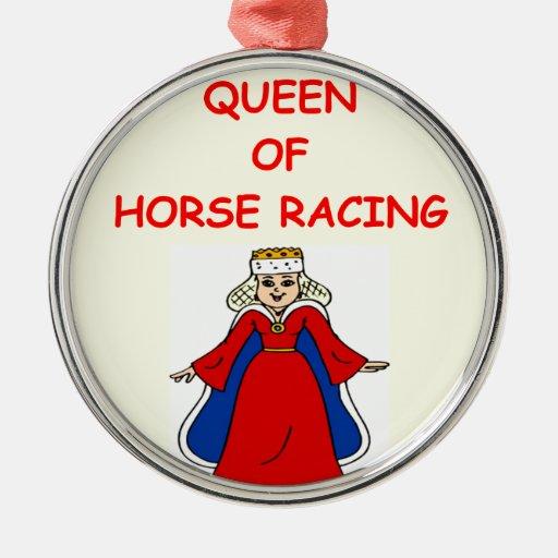 carrera de caballos excelente adorno redondo plateado