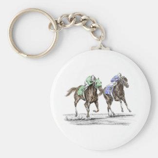 Carrera de caballos excelente llavero redondo tipo pin