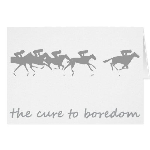 Carrera de caballos, la curación al aburrimiento tarjeta de felicitación