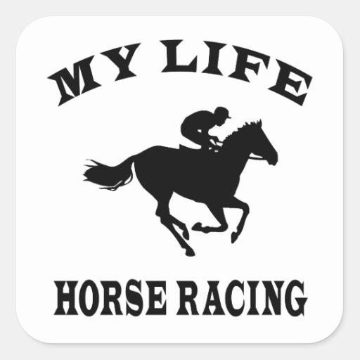 Carrera de caballos mi vida calcomanías cuadradass