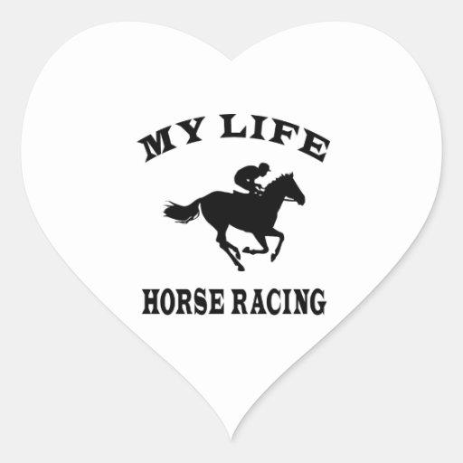 Carrera de caballos mi vida calcomania de corazon personalizadas