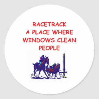 carrera de caballos pegatina redonda