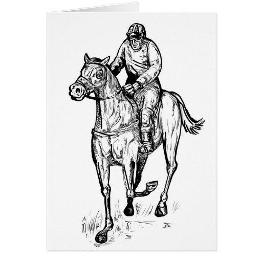 carrera de caballos retra tarjetón