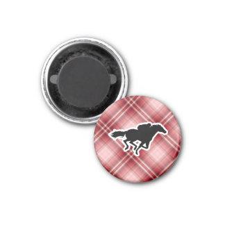 Carrera de caballos roja de la tela escocesa imán redondo 3 cm