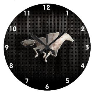 Carrera de caballos rugosa reloj redondo grande