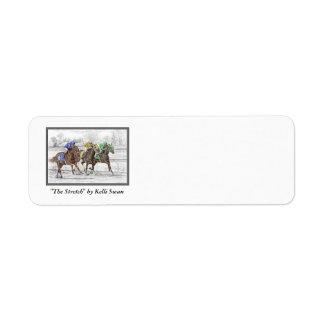 Carrera de caballos tres - cuello y cuello etiqueta de remite