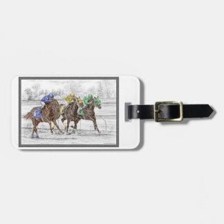 Carrera de caballos tres - cuello y cuello etiquetas de maletas