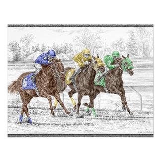 Carrera de caballos tres - cuello y cuello invitaciones personalizada