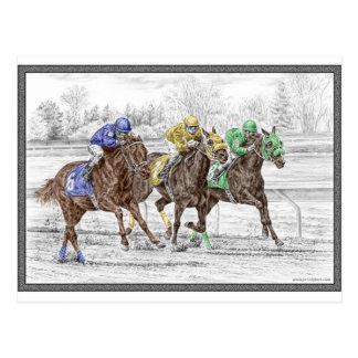 Carrera de caballos tres - cuello y cuello postal