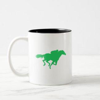 Carrera de caballos verde de Kelly Tazas De Café