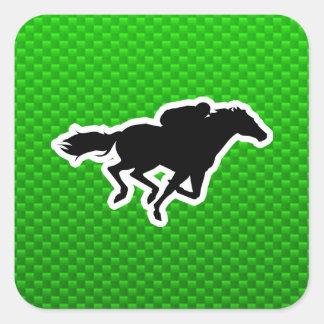 Carrera de caballos verde calcomanía cuadradas
