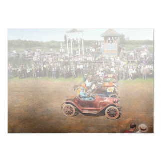 """Carrera de coches - al borde de sus asientos 1915 invitación 5"""" x 7"""""""