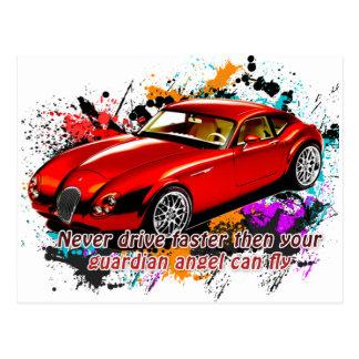 Carrera de coches tarjetas postales