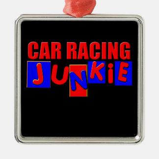 Carreras de coches adorno navideño cuadrado de metal