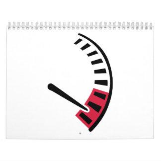 Carreras de coches del velocímetro calendario