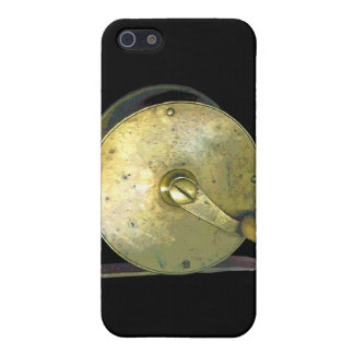 Carrete de cobre amarillo 1800's de la pesca iPhone 5 fundas