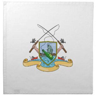 Carrete de la caña de pescar que engancha la capa servilleta de papel