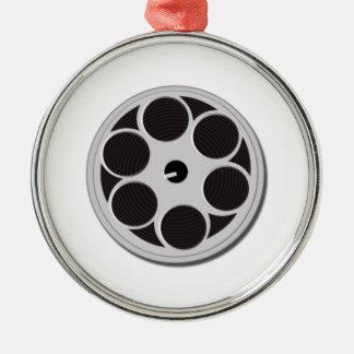 Carrete de la película de cine adorno navideño redondo de metal