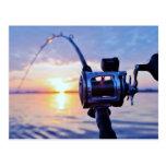 Carrete de la pesca en la puesta del sol tarjeta postal