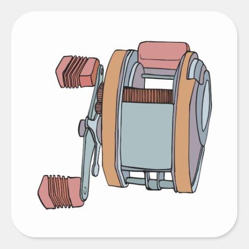 Carrete de la pesca pegatina cuadradas personalizadas