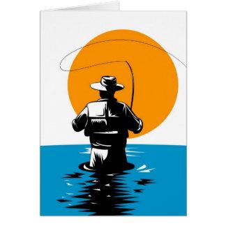Carrete del bastidor del pescador de la mosca con  tarjetas