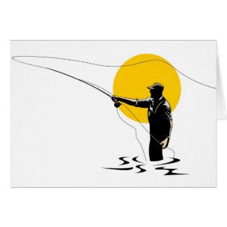 Carrete del bastidor del pescador de la mosca con  felicitaciones