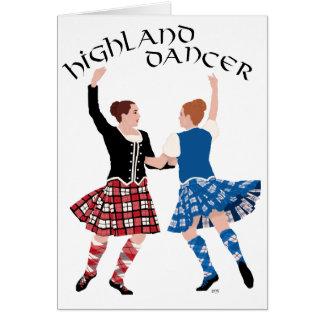 Carrete escocés de la danza de la montaña tarjeta de felicitación
