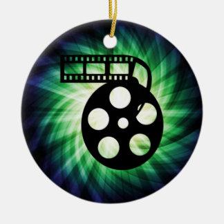 Carrete fresco de la película de cine adorno navideño redondo de cerámica