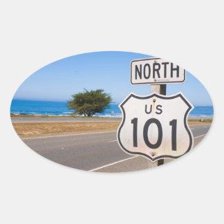 Carretera 101 del norte pegatina ovalada