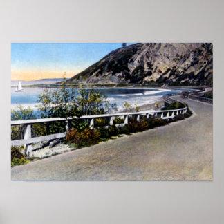 Carretera 1930 de la costa de Santa Barbara Califo Poster