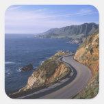 Carretera 1 a lo largo de la costa de California Pegatina Cuadrada