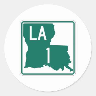 Carretera 1, Luisiana, los E.E.U.U. Pegatina Redonda