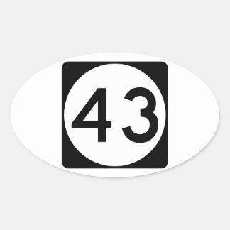 Carretera 43 de Mississippi Pegatina Ovalada