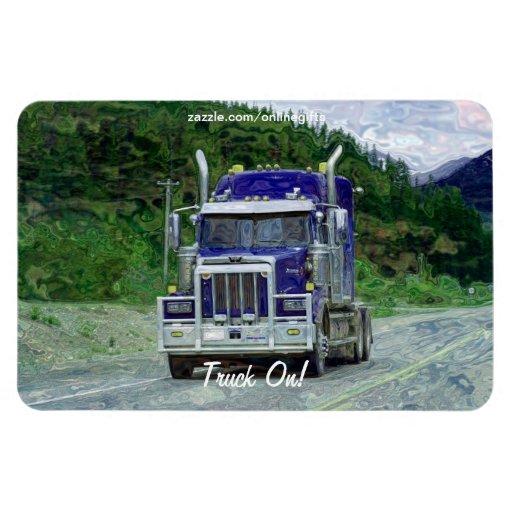 Carretera de acarreo azul del camión que conduce e imanes rectangulares