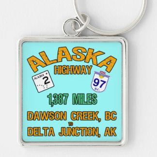 Carretera de Alaska Llavero Cuadrado Plateado