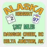 Carretera de Alaska Colcomanias Cuadradas Personalizadas