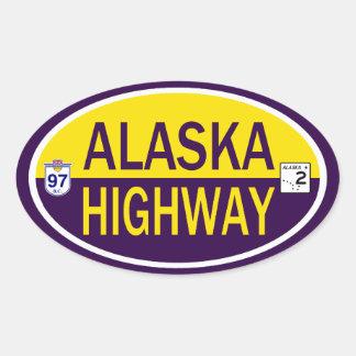 Carretera de Alaska Colcomanias De Óval Personalizadas