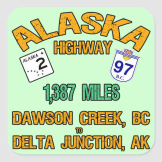 Carretera de Alaska Pegatina Cuadrada