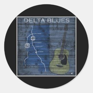 Carretera de los azules del Grunge de los azules d Pegatina Redonda