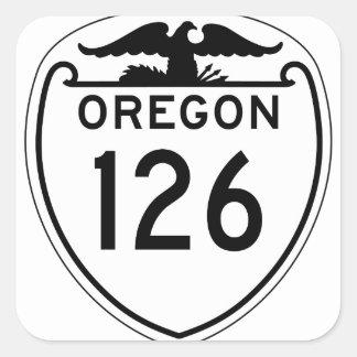Carretera estatal 126, Oregon, viejo estilo 1948 Pegatina Cuadrada