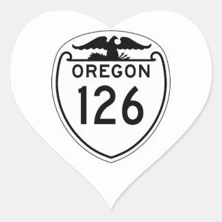 Carretera estatal 126, Oregon, viejo estilo 1948 Pegatina En Forma De Corazón