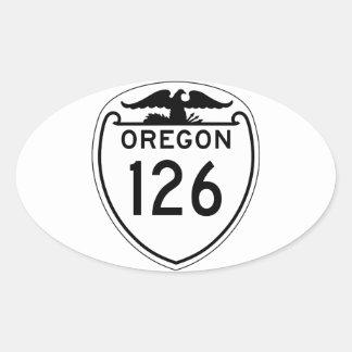 Carretera estatal 126, Oregon, viejo estilo 1948 Pegatina Ovalada